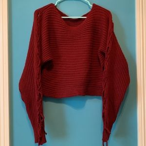 Sweaters - Cropped Red Lace Up Sweater